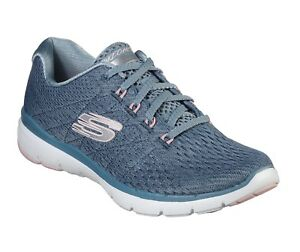 new style 7424b 7d0ec Details zu Skechers NEW Flex Appeal 3.0 Satellites slate blue pink womens  trainers size 3-8