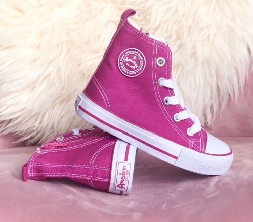 Girls Boys Kids Hi Top Canvas School Shoes Sneakers Plimsoles Size UK 9-12
