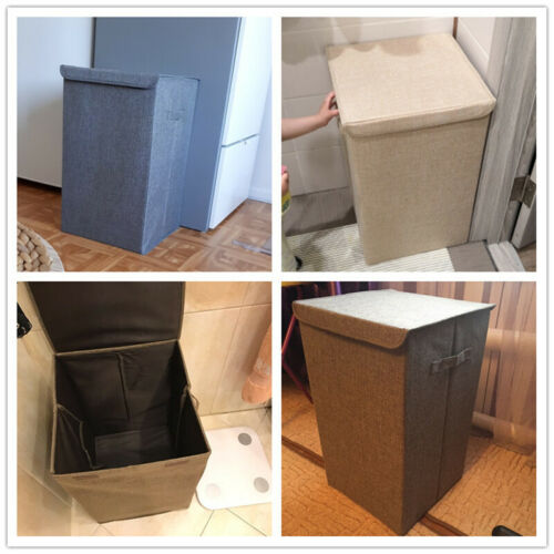 Linen Collapsible Hamper Large Storage Laundry Bucket Bathroom Wash Box with Lid