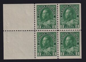 Canada-Sc-107b-1922-2c-yellow-green-Admiral-BOOKLET-PANE-Mint-VF-NH