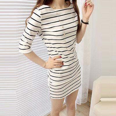 Women Striped Half Sleeve Long Top Slim Casual Party Mini Dress Girls T-shirt