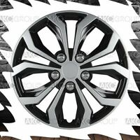 4 X Spyder Performance Wheel Cover Black Silver Finish Abs Hubcap For 14 Wheel