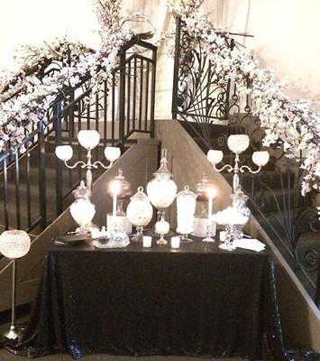 Sparkly Black Sequin Glamorous Cloth/Fabric/Overlay On Wedding/Dessert Table