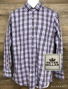Peter-Millar-Men-039-s-Cotton-Multi-Color-Plaid-Long-Sleeve-Button-Front-Shirt-M