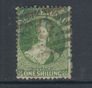 New-Zealand-Sc-37a-SG-124-used-1864-72-1sh-green-QV-fresh-sound-Cert