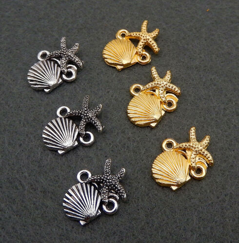 Wholesale Gold//Antique Silver Tiny Starfish Shell Connector Charm Pendants