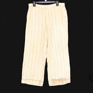 Lauren-Ralph-Lauren-Women-039-s-Petite-Beige-LRL-Linen-Blend-Striped-Pants-Size-14P
