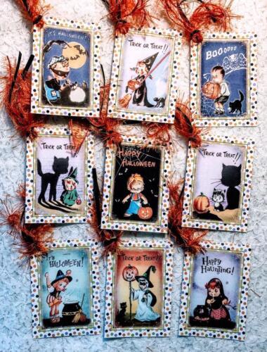 Set of 9 Hang Tags~Vintage Halloween Shadows~Gift Tags~Scrapbooking~Card/'s~#177R