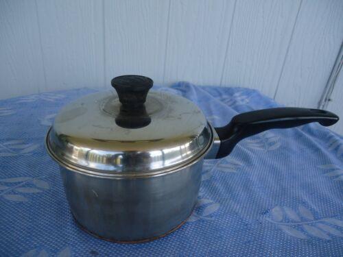 vintage essteele brand stainless steel and copper saucepan /& lid  silcraft 15cm