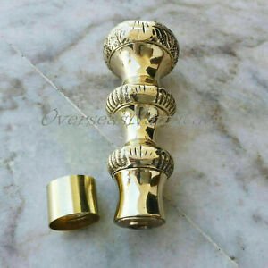 Vintage Solid Brass Head Handle for Walking Stick Walking Cane w Connector GIFT