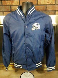 Vintage-Dallas-Cowboys-NFL-Football-Snap-Satin-Jacket-Mens-Size-Small-Blue-Texas