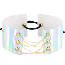 Holographic Choker Women Punk Laser Leather Chain Lace Up Necklace Jewelry White