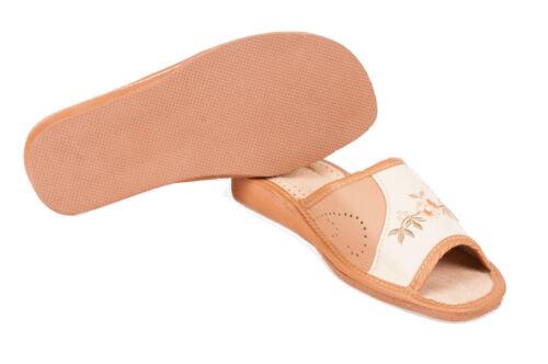 Womens 100/% Eco Leather Slip On Sandals Slippers Ladies Mule Beach Brown /& Cream
