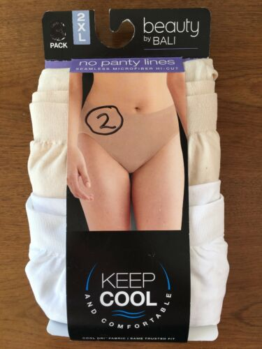 Bali Keep Cool /& Confortable Seamlees Microfiber Hi-Cuts 2 Pairs 2XL
