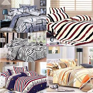 Cotton-Bedding-Set-Quilt-Cover-Duvet-Cover-With-Pillow-Cases-amp-Fitted-Sheet