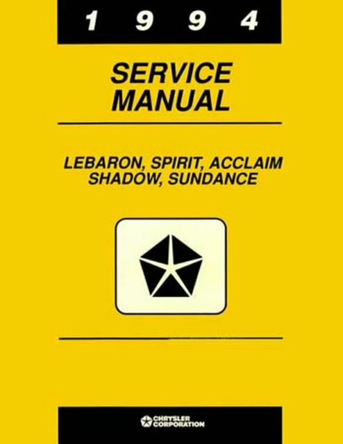 Oem Repair Shop Manual Bound For Plymouth Acclaim