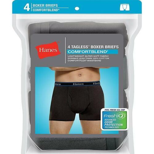 Hanes Men's 4-Pack ComfortBlend Fresh IQ W// Wicks Away Moisture Boxer Briefs