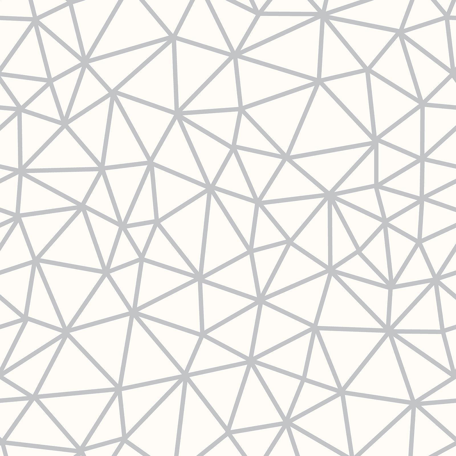Symetrie Geometrique Triangle 310009 Papier Peint Blanc Argent Rasch