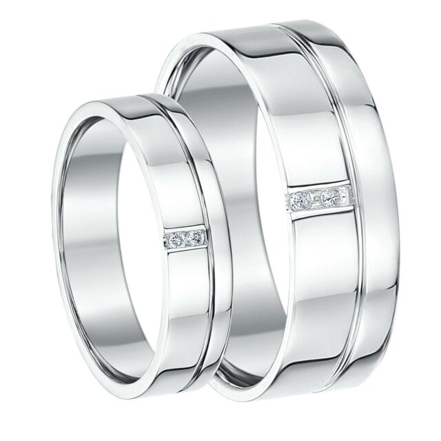 His & Hers 9ct White Gold Diamond Wedding Bands 5mm & 7mm Rings