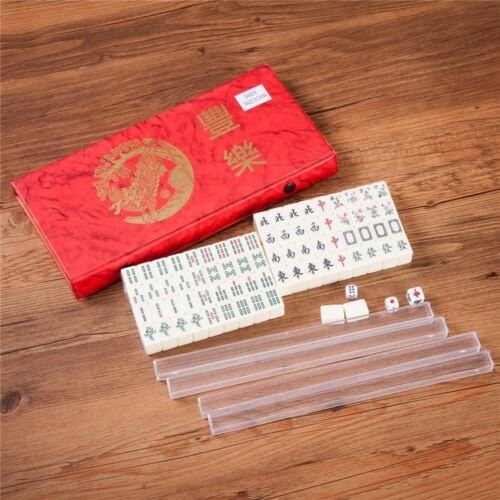 Portable Mini Chinese Mahjong Game Travel Set 144 2 Spares Ivory-Color Tiles