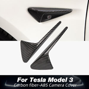 2PCS Carbon Fiber Side camera protection cover For Tesla Model Y 3 X S Matte