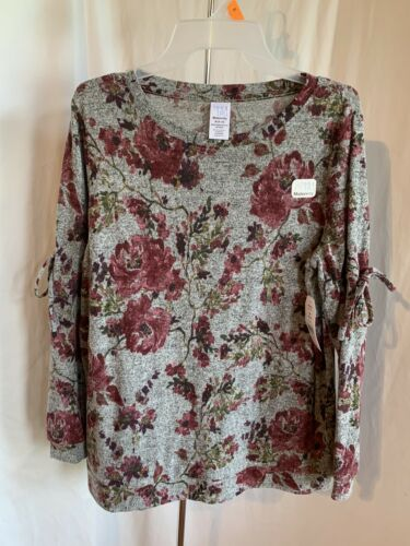 Time and Tru Maternity Size M L XL Grey Floral Tie Drawstring Sweater Shirt NWT