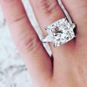 2-80-Ct-Cushion-Cut-W-Baguette-Diamond-Engagement-3-stone-Ring-I-SI1-Plat-GIA