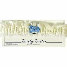 Bride Garter - Ivory Cream Ribbon Blue Bow - Wedding Charm Bridal Accessory GIFT