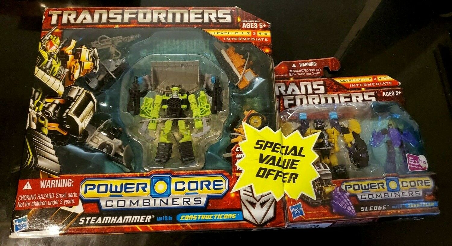 STEAMHAMMER & Sledge Transformers Power Core Combiners with BONUS Set UNOPENED