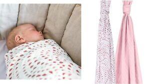 Bebe au Lait Soft Cotton Muslin 2 Baby Swaddle Blankets Rose Quartz / Pink Petal