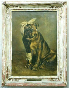 Antique-Painting-BULLDOG-Large-Original-Oil-on-Canvas-Vintage-Bull-Dog-Portrait