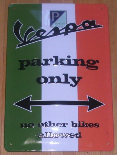 Tin Sign with embossing VESPA PARKING ONLY
