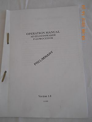 Audio For Video Humorous Apogee Ae-12 Loudspeaker P-12 Processor Operation Manual Preliminary V1 In Many Styles