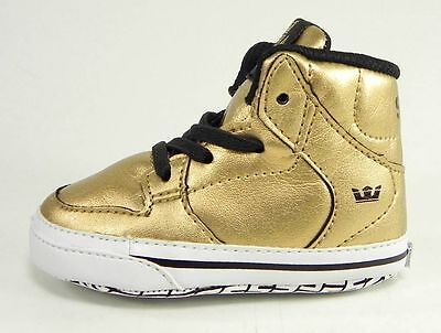 Supra Vaider Hi Top Gold Black White Shoes Crib Baby New Born Booties Sneakers