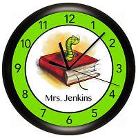 School Teacher Wall Clock Personalized Gift Wall Bookworm Book Apple Classroom