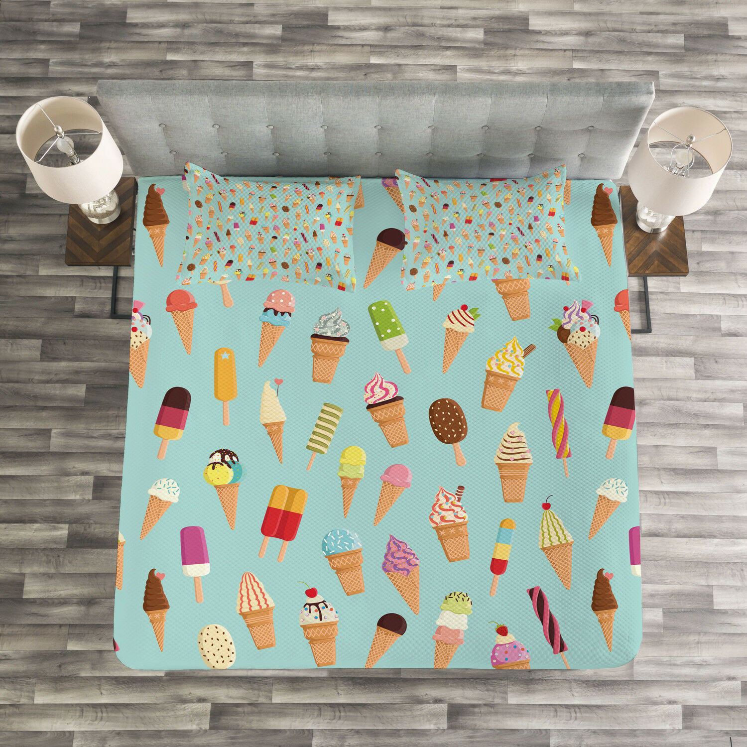 Ice Cream Quilted Bedspread & Pillow Shams Set, Yummy Fruity Print