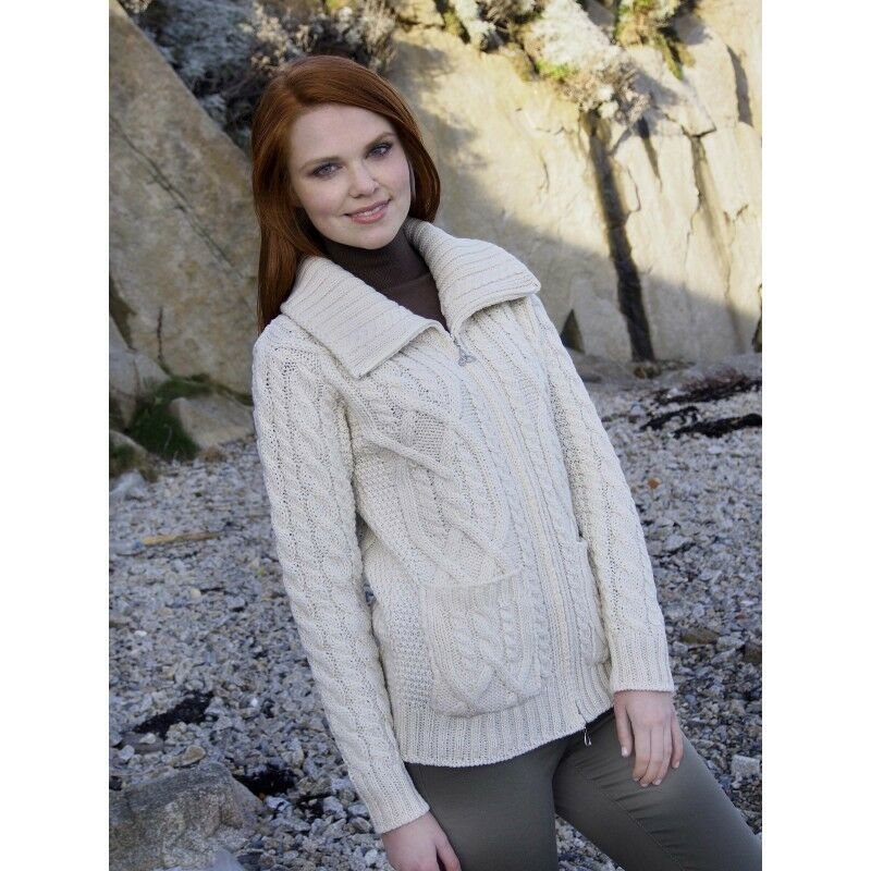Cable Knit Sweater Merino Wool XS S M L XL Double Collar High Neck Aran Zip