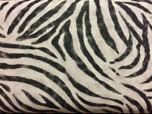 ZEBRA Animal Print Fabric Linen Cotton Blend curtains Black Stripes 55/'/' wide