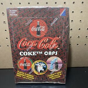 1995-Collect-A-Card-COCA-COLA-COKE-Caps-Pog-Game-Factory-Sealed-Box-36-Packs