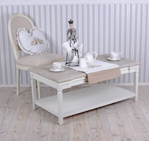 Details Sur Table Basse Shabby Chic Table De Salon Blanc Table Table Basse