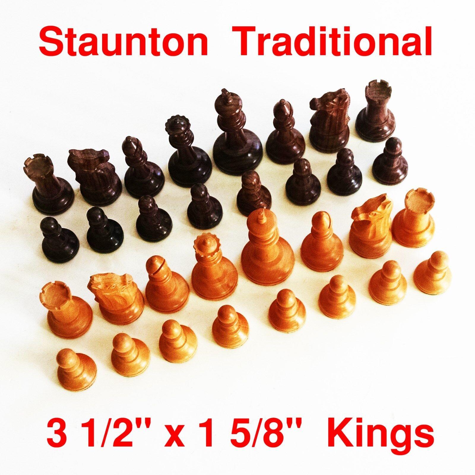 Juego de ajedrez Staunton Rey tradicionales de 3 1 2  X 1 5 8  - Madera Maciza - 710832