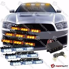 54 White & Amber Yellow LED Emergency Truck Car Strobe Flash Light Front Rear