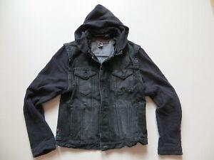 Levi-039-s-Engineered-Jeans-Jacke-Gr-XL-schwarz-Sweatshirt-Armel-und-Kapuze