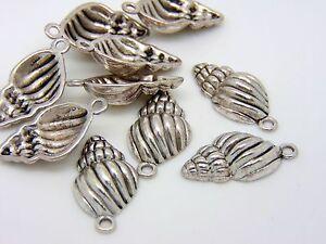 10-Pcs-25mm-Tibetan-Silver-Shell-Charms-Pendant-Beading-Seaside-Holiday-J102