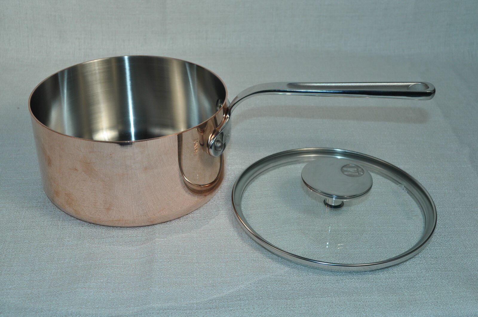 MAUVIEL Copper Saucepan Casserole with Glass Lid 6.3  France New
