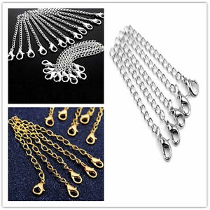 10pc-DIY-Silver-Gold-Necklace-Extender-Jewelry-Extension-Chain-75mm-with-Clasp