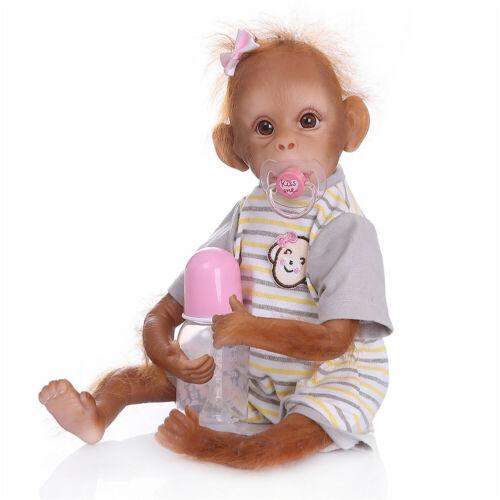 Hand Applied Mohair Reborn Monkey Baby Dolls Realistic Ape Orangutan Baby Dolls