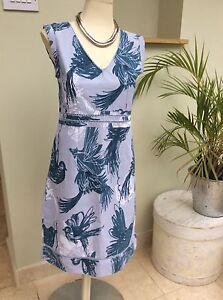 Stunning Designer White Stuff Linen Blend Blue Summer Dress Size 8