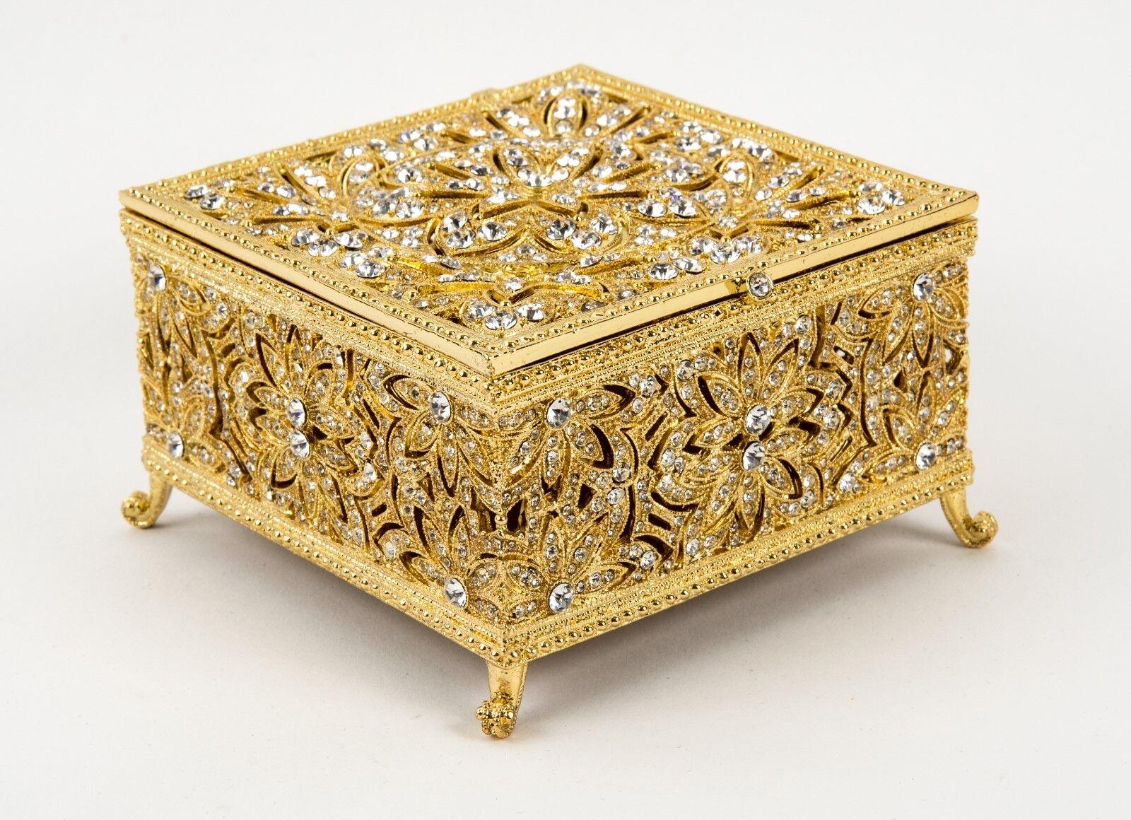 Olivia Riegel oro Grandes Windsor cristales de Swarovski Joyas Caja de tesoro