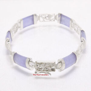 Image Is Loading Lavender Jade Bracelet With 925 Sterling Silver Dragon
